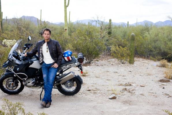 Michael Weatherly: Evel Knievel Motorcycle Training.