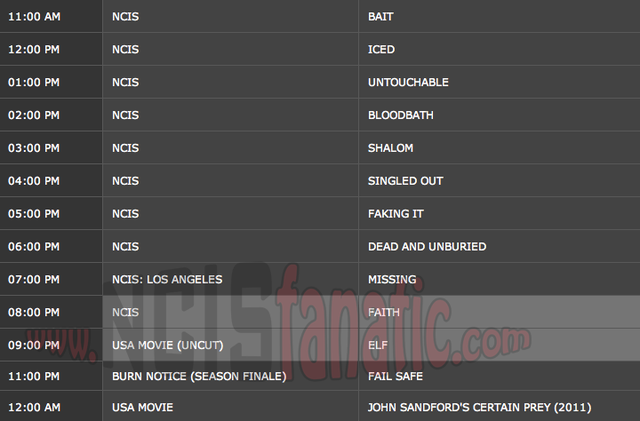 Wednesday, December 21, 2011 (11:00am until 9:00pm ET — 10 NCIS Episodes back-to-back!)