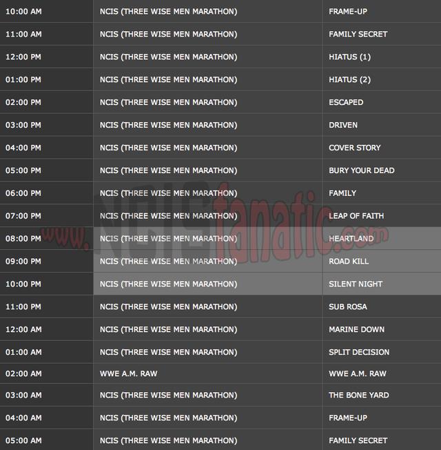 Saturday, December 24, 2011 (10:00am until 6:00am ET — 19 NCIS Episodes back-to-back!)