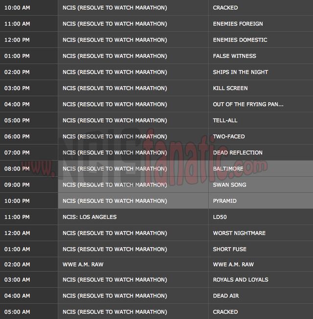 Saturday, December 31, 2011 (10:00am until 6:00am ET — 19 NCIS Episodes back-to-back!)