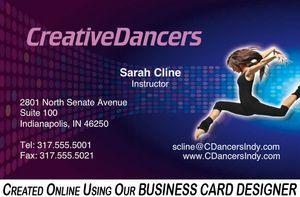 Creative Dancers Business Card Designer SAMPLE