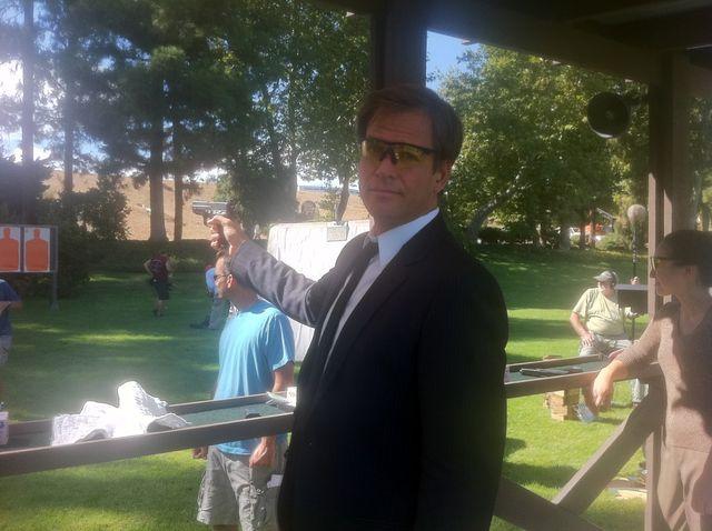 Michael Weatherly: A shot from the season premiere... #DiNozzo at the gun range.