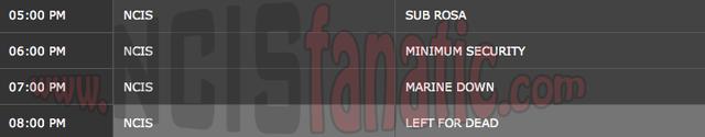 Monday, December 5, 2011 (5:00pm until 9:00pm ET — 4 NCIS Episodes back-to-back!)