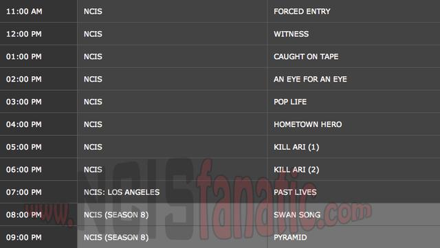 Wednesday, December 14, 2011 (11:00am until 10:00pm ET — 11 NCIS Episodes back-to-back!)