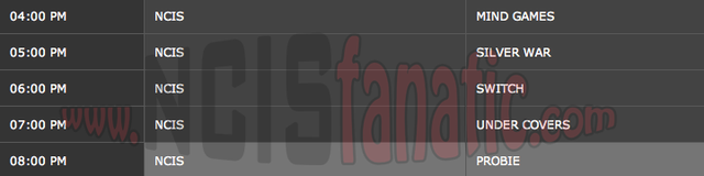 Friday, December 16, 2011 (4:00pm until 9:00pm ET — 5 NCIS Episodes back-to-back!)
