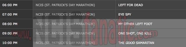 Saturday, March 17, 2012 (6:00pm until 11:00pm ET — 5 NCIS Episodes back-to-back!)