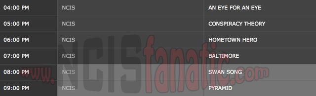 Wednesday, April 11, 2012  (4:00pm until 10:00pm ET — 6 NCIS Episodes back-to-back!)