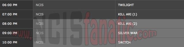 Thursday, April 12, 2012 (6:00pm until 11:00pm ET — 5 NCIS Episodes back-to-back!)
