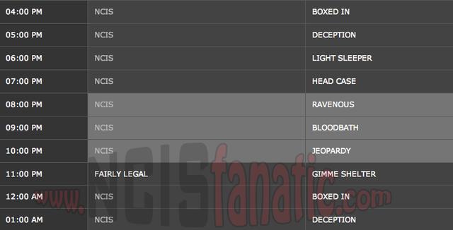 Wednesday, April 18, 2012 (4:00pm until 2:00am ET — 7 NCIS Episodes back-to-back!)