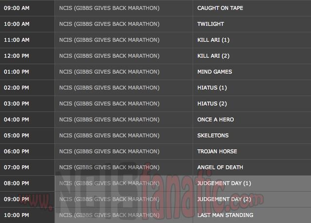 Saturday, April 21, 2012 (9:00am until 11:00pm ET — 14 NCIS Episodes back-to-back!)