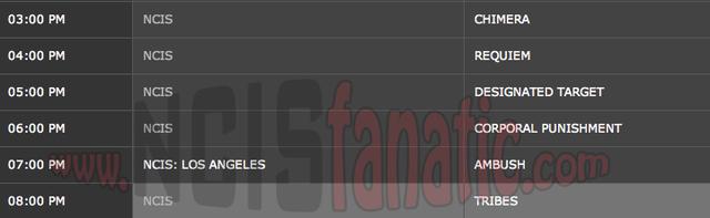 Monday, April 30, 2012 (3:00pm until 9:00pm ET — 6 NCIS Episodes back-to-back!)