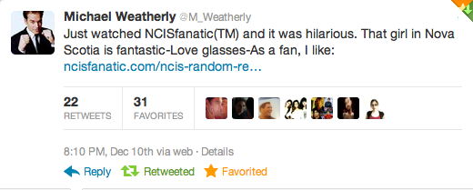 Michael Weatherly Mentions NCISfanatic & Inherently Random on TWITTER