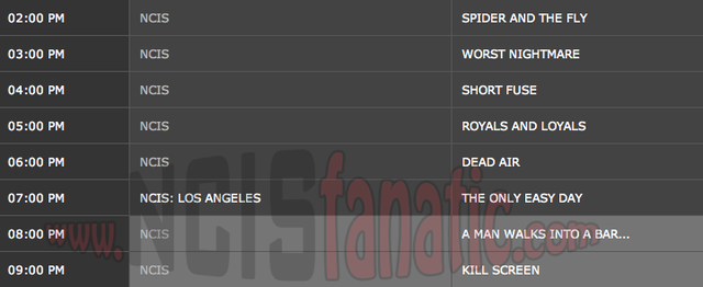 Wednesday, March 21, 2012 (2:00pm until 10:00pm ET — 8 NCIS Episodes back-to-back!)