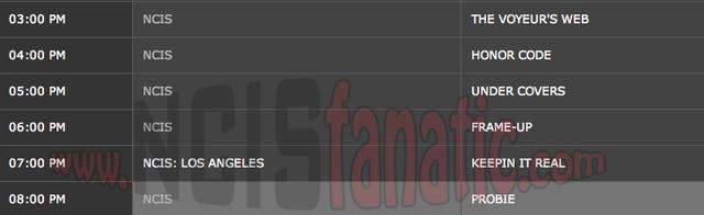 Monday, April 16, 2012 (3:00pm until 9:00pm ET — 6 NCIS Episodes back-to-back!)