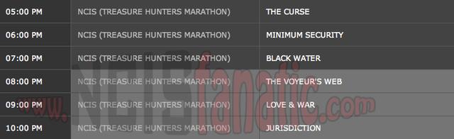 Sunday, March 4, 2012 (5:00pm until 11:00pm ET — 6 NCIS Episodes back-to-back!)
