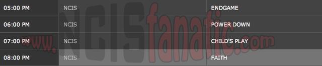 Monday, March 12, 2012 (5:00pm until 9:00pm ET — 4 NCIS Episodes back-to-back!)