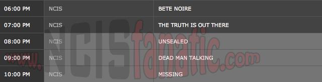 Thursday, March 29, 2012 (6:00pm until 11:00pm ET — 5 NCIS Episodes back-to-back!)