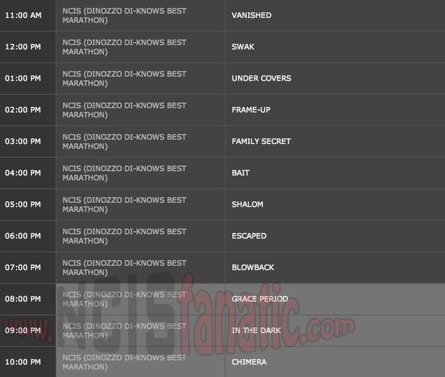 Sunday, April 8, 2012 (11:00am until 11:00pm ET — 12 NCIS Episodes back-to-back!)