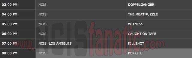 Monday, April 9, 2012 (3:00pm until 9:00pm ET — 6 NCIS Episodes back-to-back!)