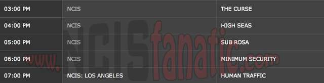 Monday, October 1, 2012 (3:00pm until 8:00pm ET/PT — 5 NCIS Episodes back-to-back!)