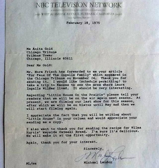 Letter Michael Landon NBC 1st Season Little House on Prairie