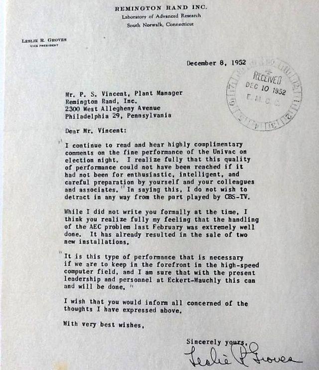 Leslie Groves letter Remington Rand about UNIVAC