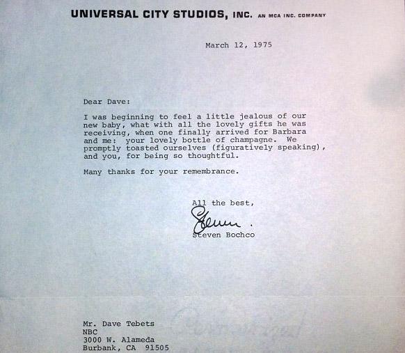 Letter 1975 Steven Bocho Universal City Studios