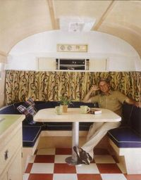 Interior of Mark Harmon's 1972 Airstream trailer