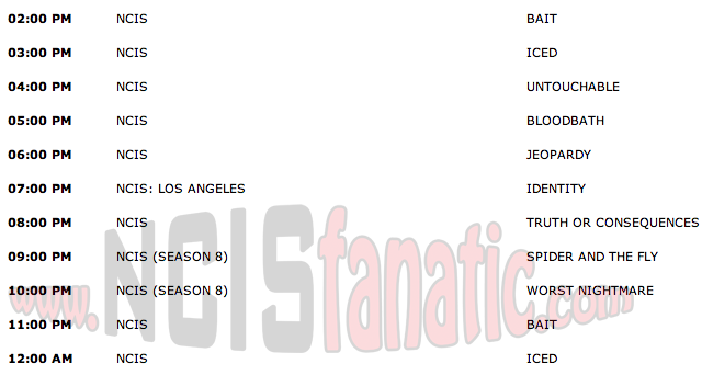 Wednesday, September 28, 2011 (2:00pm until 1:00am ET — 11 NCIS Episodes back-to-back!)