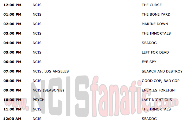 Wednesday, October 19, 2011 (Noon until 1:00am ET — 12 NCIS Episodes back-to-back!)
