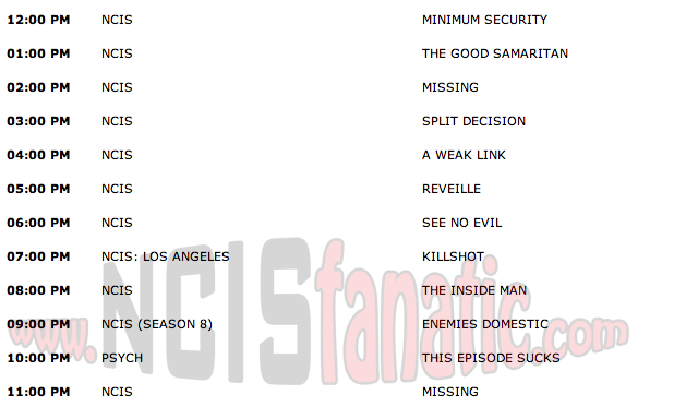 Wednesday, October 26, 2011 (Noon until Midnight ET — 11 NCIS Episodes back-to-back!)
