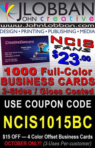 1000 Color Business Cards $23 — Coupon Code NCIS1015BC