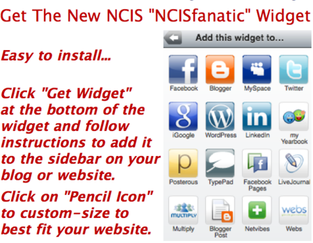 "Get The New NCIS ""NCISfanatic"" Widget For Your Web Page!"