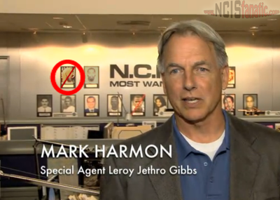 NCIS producers putting together the final three episodes of the show in the editing room have decided to digitally insert a giant red stripe across bin Laden's face.