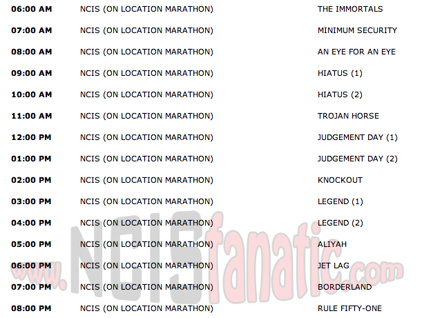 Monday, September 5, 2011 (6:00am until 9:00pm ET — 15 NCIS Episodes back-to-back!)