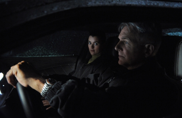 Special Agents Ziva David (Cote de Pablo) and Leroy Jethro Gibbs (Mark Harmon) try to track down and protect a Navy captain's pregnant companion from unknown assailants, on NCIS. Photo: Ron P. Jaffe/CBS © 2011 CBS Broadcasting, Inc. All Rights Reserved.