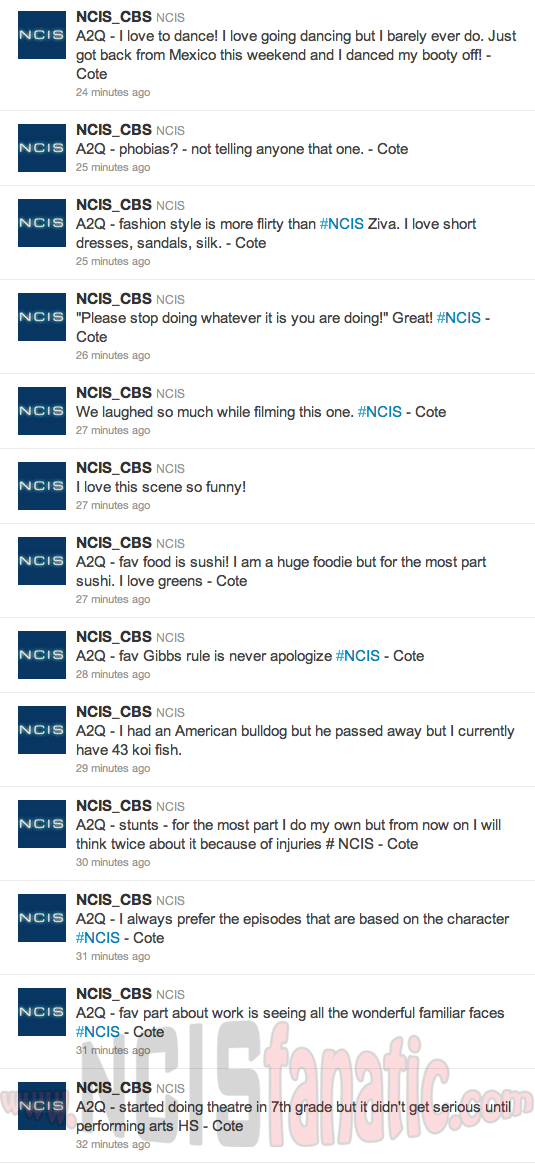 CBS NCIS Live Chat with Cote de Pablo — Transcript (Oct 18)