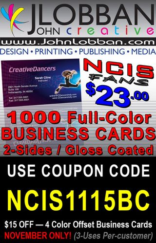 1000 Color Business Cards $23 — Coupon Code NCIS1115BC
