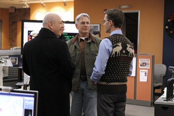 Jimmy (Brian Dietzen) has problems of his own when he brings his future father-in-law (Larry Miller) to work. Photo: Sonja Flemming/CBS ©2011 CBS Broadcasting Inc. All Rights Reserved.