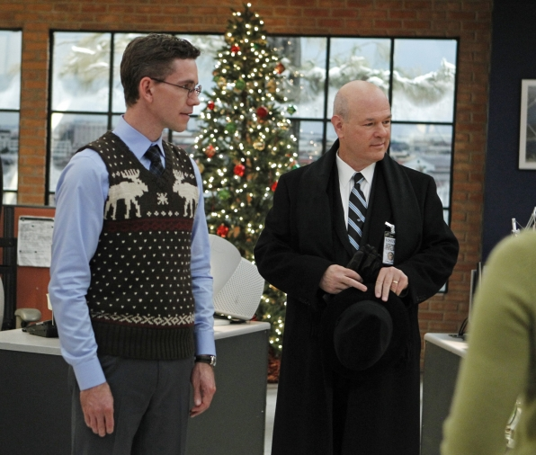 Jimmy (Brian Dietzen) has problems of his own when he brings his future father-in-law (Larry Miller) to work, on NCIS. Photo: Sonja Flemming/CBS ©2011 CBS Broadcasting Inc. All Rights Reserved.