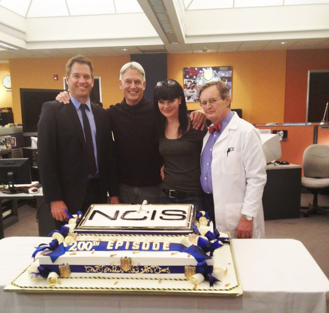 "200+ Episode Crew — Pauley Perrette tweets, ""#NCIS 200th episode cake! 202 for me Harmon McCallum & Weatherman!!!"""