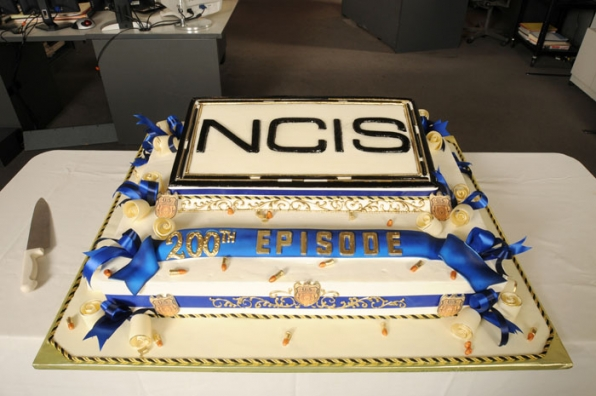 Cake Anyone? — On the set of NCIS which celebrated its 200th episode today with a cake cutting ceremony!