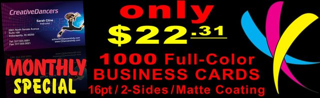 February Monthly Special: 1000 4-color offset Business Cards!
