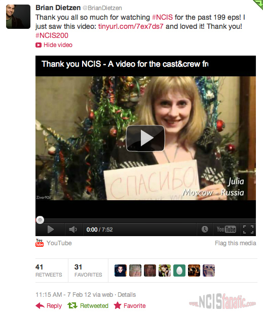 Brian Dietzen Tweets About #NCIS200 Fan Thank You Video