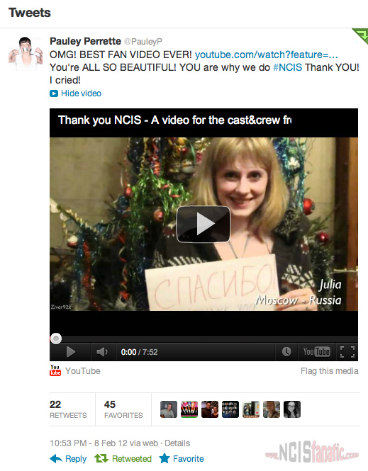 Pauley Perrette Tweets About #NCIS200 Fan Thank You Video