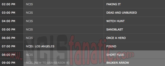 Wednesday, February 15, 2012 (2:00pm until 10:00pm ET — 8 NCIS Episodes back-to-back!)