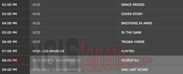 Wednesday, February 22, 2012 (2:00pm until 10:00pm ET — 8 NCIS Episodes back-to-back!)