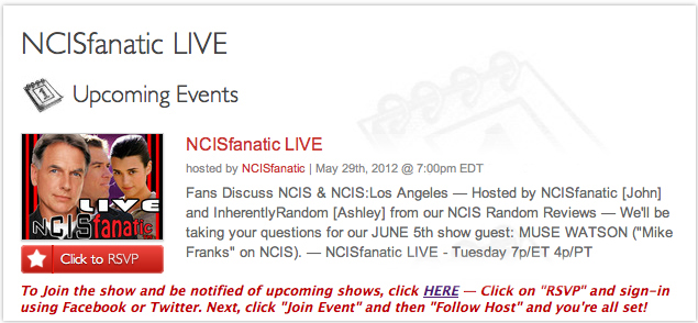 NCISfanatic LIVE: NCIS Talk with John & Ashley, 5/29 @ 7pm
