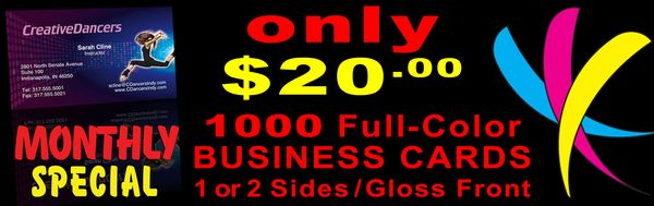 January's special is 1000 select 4-color offset Business Cards!