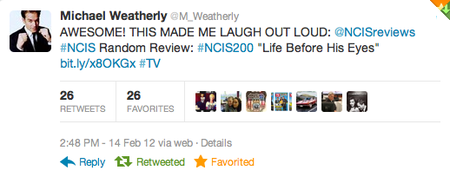 Michael Weatherly Mentions NCIS Random Reviews — Valentine's Day 2012